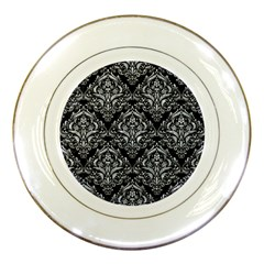 Damask1 Black Marble & Gray Marble Porcelain Plate by trendistuff