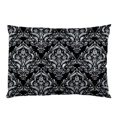 Damask1 Black Marble & Gray Marble Pillow Case (two Sides) by trendistuff