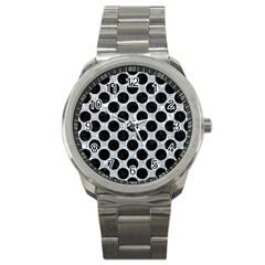 Circles2 Black Marble & Gray Marble (r) Sport Metal Watch by trendistuff