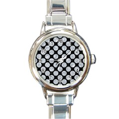 Circles2 Black Marble & Gray Marble Round Italian Charm Watch by trendistuff