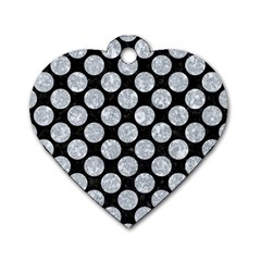 Circles2 Black Marble & Gray Marble Dog Tag Heart (one Side)