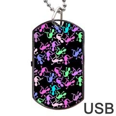 Purple Lizards Pattern Dog Tag Usb Flash (one Side) by Valentinaart