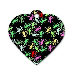 Playful Lizards Pattern Dog Tag Heart (one Side) by Valentinaart