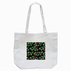 Playful Lizards Pattern Tote Bag (white) by Valentinaart