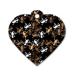 Brown Lizards Pattern Dog Tag Heart (two Sides) by Valentinaart