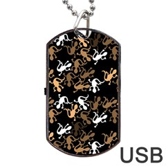 Brown Lizards Pattern Dog Tag Usb Flash (two Sides)  by Valentinaart