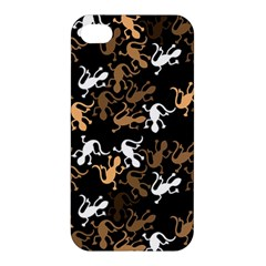 Brown Lizards Pattern Apple Iphone 4/4s Premium Hardshell Case by Valentinaart