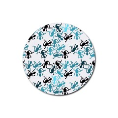 Lizards Pattern   Blue Rubber Round Coaster (4 Pack)  by Valentinaart