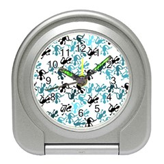 Lizards Pattern   Blue Travel Alarm Clocks by Valentinaart