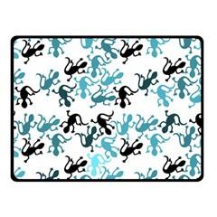 Lizards Pattern   Blue Double Sided Fleece Blanket (small)  by Valentinaart