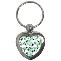 Lizards Pattern   Green Key Chains (heart)  by Valentinaart