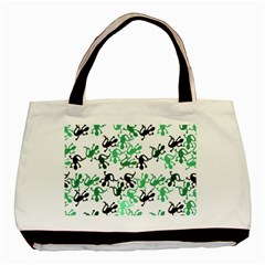 Lizards Pattern   Green Basic Tote Bag (two Sides) by Valentinaart