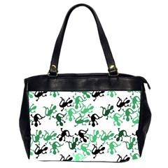 Lizards Pattern   Green Office Handbags (2 Sides)  by Valentinaart