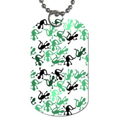 Lizards Pattern   Green Dog Tag (one Side) by Valentinaart