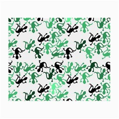 Lizards Pattern   Green Small Glasses Cloth by Valentinaart
