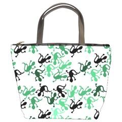 Lizards Pattern   Green Bucket Bags by Valentinaart