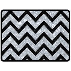 Chevron9 Black Marble & Gray Marble (r) Double Sided Fleece Blanket (large) by trendistuff