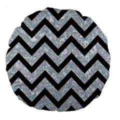Chevron9 Black Marble & Gray Marble (r) Large 18  Premium Flano Round Cushion  by trendistuff