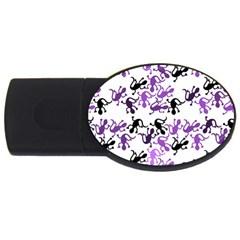 Lizards Pattern   Purple Usb Flash Drive Oval (2 Gb)  by Valentinaart