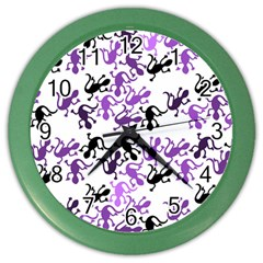 Lizards Pattern   Purple Color Wall Clocks by Valentinaart