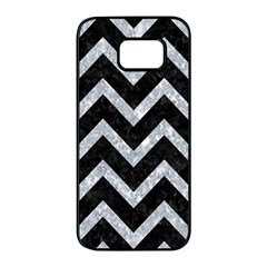 Chevron9 Black Marble & Gray Marble Samsung Galaxy S7 Edge Black Seamless Case by trendistuff