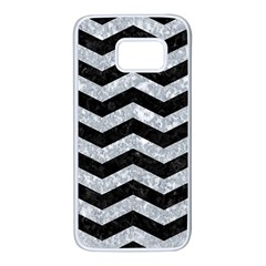 Chevron3 Black Marble & Gray Marble Samsung Galaxy S7 White Seamless Case by trendistuff