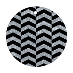 Chevron2 Black Marble & Gray Marble Round Ornament (two Sides) by trendistuff