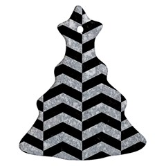 Chevron2 Black Marble & Gray Marble Christmas Tree Ornament (two Sides)