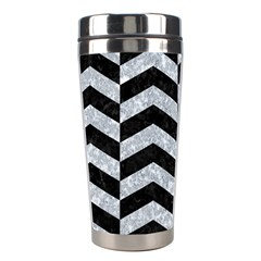 Chevron2 Black Marble & Gray Marble Stainless Steel Travel Tumbler by trendistuff