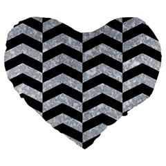 Chevron2 Black Marble & Gray Marble Large 19  Premium Flano Heart Shape Cushion by trendistuff