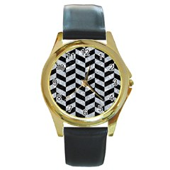 Chevron1 Black Marble & Gray Marble Round Gold Metal Watch by trendistuff