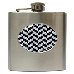 Chevron1 Black Marble & Gray Marble Hip Flask (6 Oz) by trendistuff