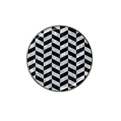 Chevron1 Black Marble & Gray Marble Hat Clip Ball Marker (4 Pack) by trendistuff