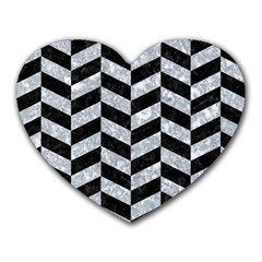 Chevron1 Black Marble & Gray Marble Heart Mousepad by trendistuff