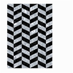 Chevron1 Black Marble & Gray Marble Large Garden Flag (two Sides) by trendistuff