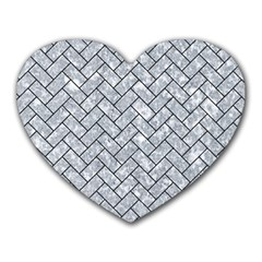 Brick2 Black Marble & Gray Marble (r) Heart Mousepad by trendistuff