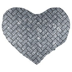 Brick2 Black Marble & Gray Marble (r) Large 19  Premium Flano Heart Shape Cushion by trendistuff