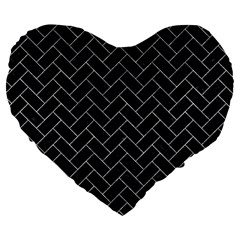 Brick2 Black Marble & Gray Marble Large 19  Premium Flano Heart Shape Cushion by trendistuff
