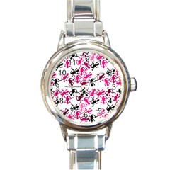 Lizards Pattern   Magenta Round Italian Charm Watch by Valentinaart