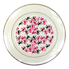 Lizards Pattern   Magenta Porcelain Plates by Valentinaart