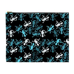 Cyan Lizards Pattern Cosmetic Bag (xl) by Valentinaart