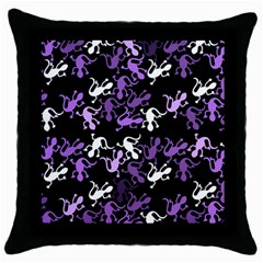 Purple Lizards Pattern Throw Pillow Case (black) by Valentinaart