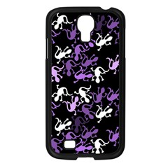Purple Lizards Pattern Samsung Galaxy S4 I9500/ I9505 Case (black) by Valentinaart