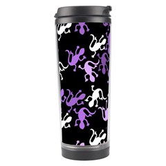 Purple Lizards Pattern Travel Tumbler by Valentinaart