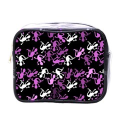 Magenta Lizards Pattern Mini Toiletries Bags by Valentinaart