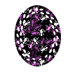 Magenta Lizards Pattern Ornament (oval Filigree)  by Valentinaart