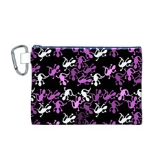 Magenta Lizards Pattern Canvas Cosmetic Bag (m) by Valentinaart