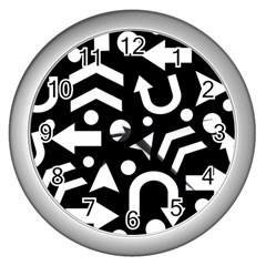 Right Direction Wall Clocks (silver)  by Valentinaart