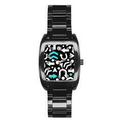 Right Direction   Cyan Stainless Steel Barrel Watch by Valentinaart