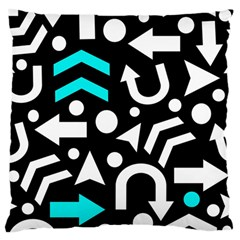 Right Direction   Cyan Large Flano Cushion Case (two Sides) by Valentinaart